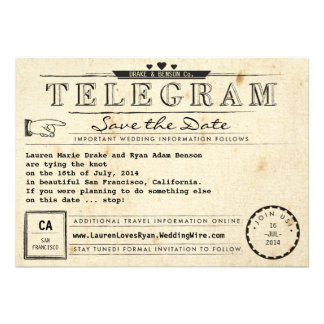 Telegram Vintage Travel Hearts Save the Date Card