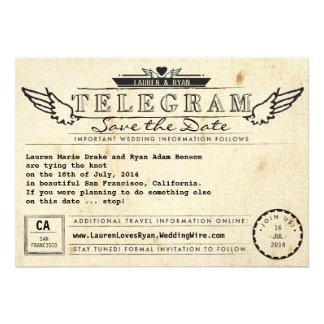 Telegram Vintage Travel Photo Card Save the Date