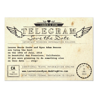Telegram Vintage Travel Winged Heart Save the Date 13 Cm X 18 Cm Invitation Card