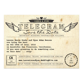 Telegram Vintage Travel Winged Heart Save the Date Personalized Invitations