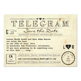 Telegram with Hearts Vintage Travel Save the Date Announcements