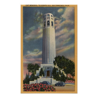 Telegraph Hill View with Coit Memorial Poster