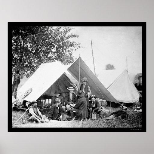 Telegraph Officers at Bealeton, VA 1863 Posters
