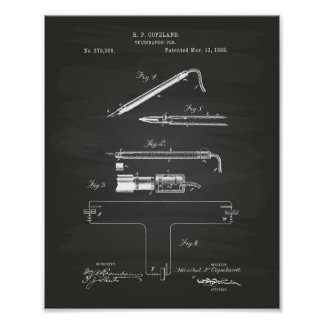 Telegraphic Pen 1888 Patent Art Chalkboard Poster