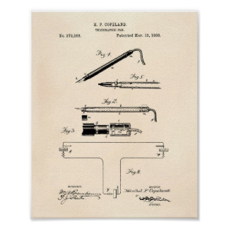 Telegraphic Pen 1888 Patent Art Old Peper Poster