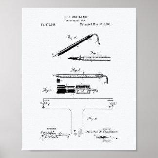 Telegraphic Pen 1888 Patent Art White Paper Poster