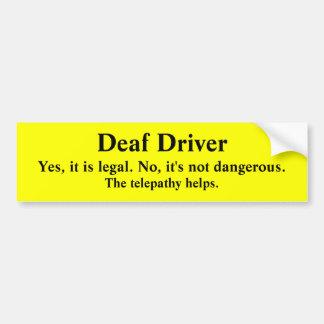 Telepathic Deaf Driver Bumper Sticker
