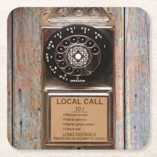 Telephone antique rotary pay phone steampunk booth square paper coaster