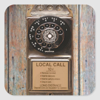 Telephone antique rotary pay phone steampunk booth square sticker