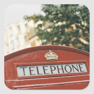 Telephone booth in London England Square Sticker