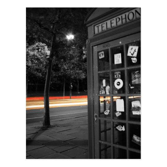 Telephone box and trail of lights Post card