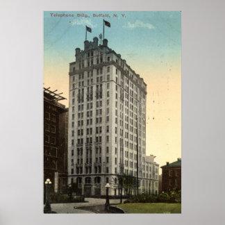 Telephone Building, Buffalo NY 1915 Vintage Poster