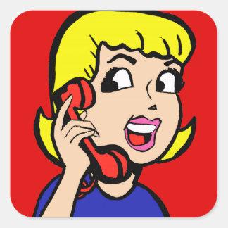 Telephone Girl Comic Strip Stickers