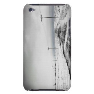 Telephone poles in snow covered field barely there iPod case