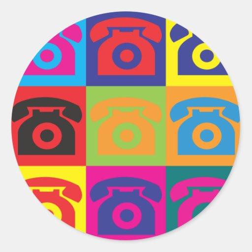 Telephones Pop Art Round Sticker