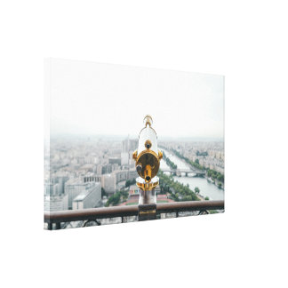 Telescope over city canvas print