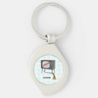 Television Freedom Cut The Cord Silver-Colored Swirl Metal Keychain