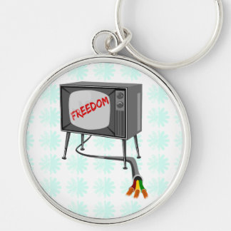 Television Freedom Cut The Cord Silver-Colored Round Key Ring