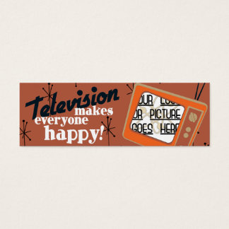 Television Makes Everyone Happy! Copper Brown Mini Business Card