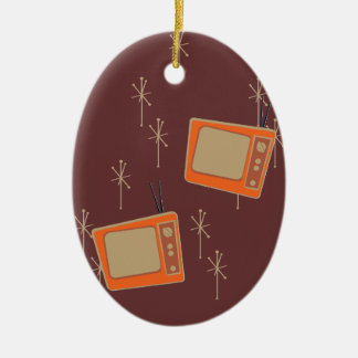 Television Makes Everyone Happy! Falling TVs Christmas Ornament