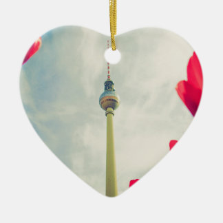 Television tower Berlin Ceramic Heart Decoration
