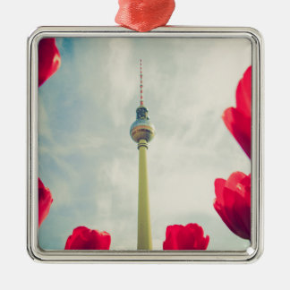 Television tower Berlin Silver-Colored Square Decoration