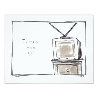 "Television TV scares me fun simple original art 4.25"" X 5.5"" Invitation Card"