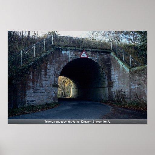 Telfords aqueduct at Market Drayton, Shropshire, U Print