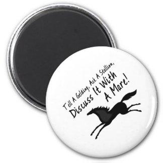 Tell a gelding..... 6 cm round magnet