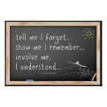 Tell me I forget quote.  Chinese Proverb Poster