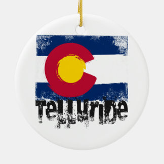 Telluride Grunge Flag Christmas Ornament