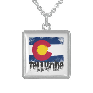 Telluride Grunge Flag Sterling Silver Necklace