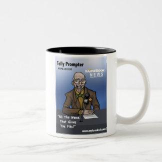 Telly Prompter- MyFarcebook News Network Anchorman Two-Tone Mug
