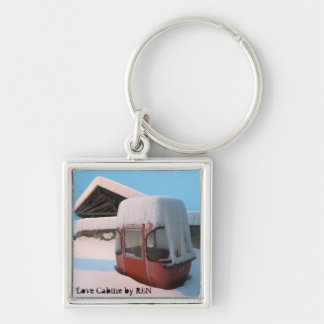 Telpher carrier or Coils Cabin by Swiss artist REN Silver-Colored Square Key Ring