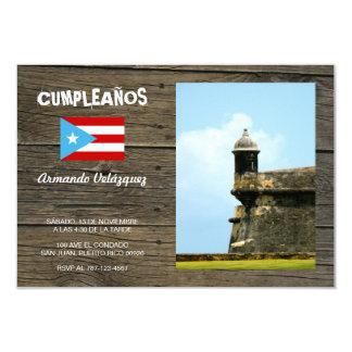 "Tema Bandera Azul Celeste Puerto Rico 3.5"" X 5"" Invitation Card"