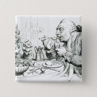 Temperance Enjoying a Frugal Meal 15 Cm Square Badge