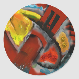 Tempest - Digital Abstract with Red Background Round Sticker