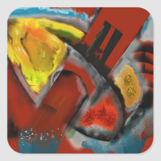 Tempest - Digital Abstract with Red Background Square Sticker