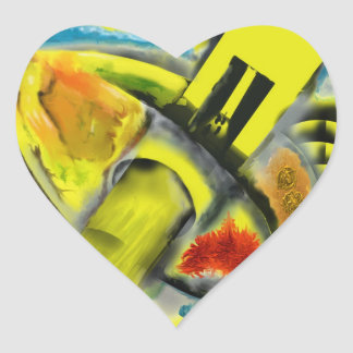 Tempest - Digital Abstract with Yellow Background Heart Sticker