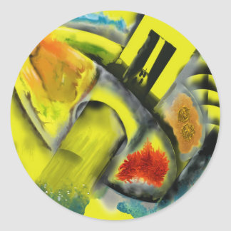 Tempest - Digital Abstract with Yellow Background Round Sticker