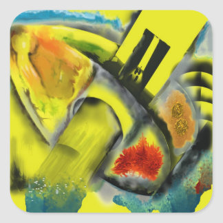 Tempest - Digital Abstract with Yellow Background Square Sticker