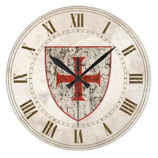 Templar Cross, Distressed Wall Clock