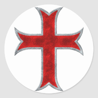 Templar Cross Round Sticker