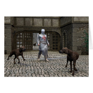 Templar Knight and Guard Dogs at a Castle Gate Card