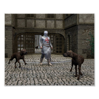 Templar Knight and Guard Dogs at a Castle Gate Poster