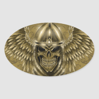 Templar Knight Gothic Medieval Skull with Wings Oval Sticker