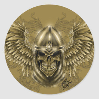 Templar Knight Gothic Medieval Skull with Wings Round Sticker