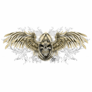 Templar Knight Gothic Medieval Skull with Wings Standing Photo Sculpture