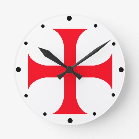 Templar red cross round clock