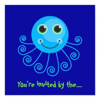 "Template - Blue Octopus Big Brother Invitation 5.25"" Square Invitation Card"